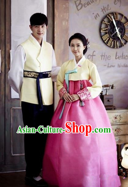 Asian Korean Traditional Palace Hanbok Couple Clothing Ancient Korean Bride and Bridegroom Costumes Complete Set