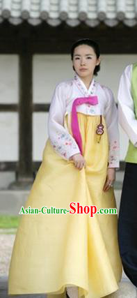 Korean Traditional Handmade Palace Hanbok White Blouse and Yellow Dress Fashion Apparel Bride Costumes for Women