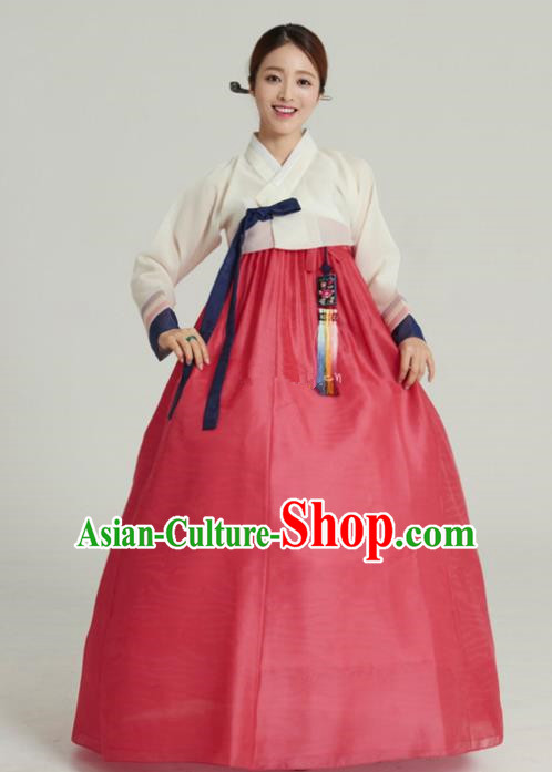 Korean Traditional Handmade Palace Hanbok White Blouse and Red Dress Fashion Apparel Bride Costumes for Women