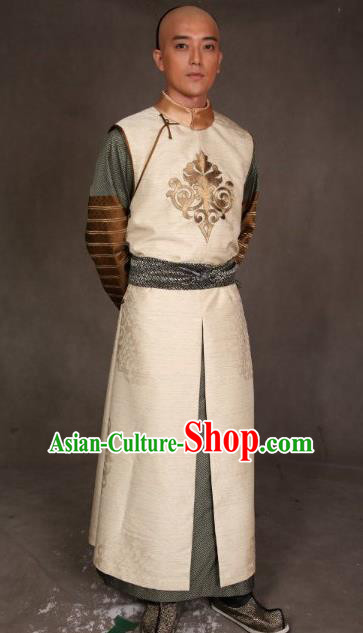 Chinese Ancient Qing Dynasty Manchu Clothing Prince of Qianlong Embroidered Costume for Men