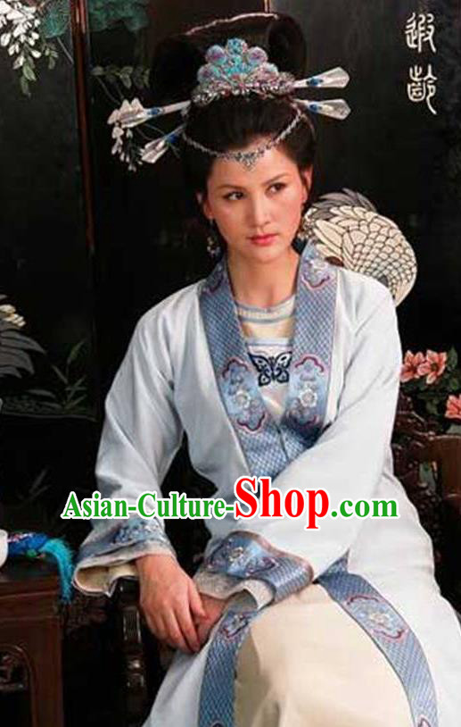 Chinese Ancient Novel Dream of the Red Chamber Young Mistress Wang Xifeng Costume and Headpiece Complete Set