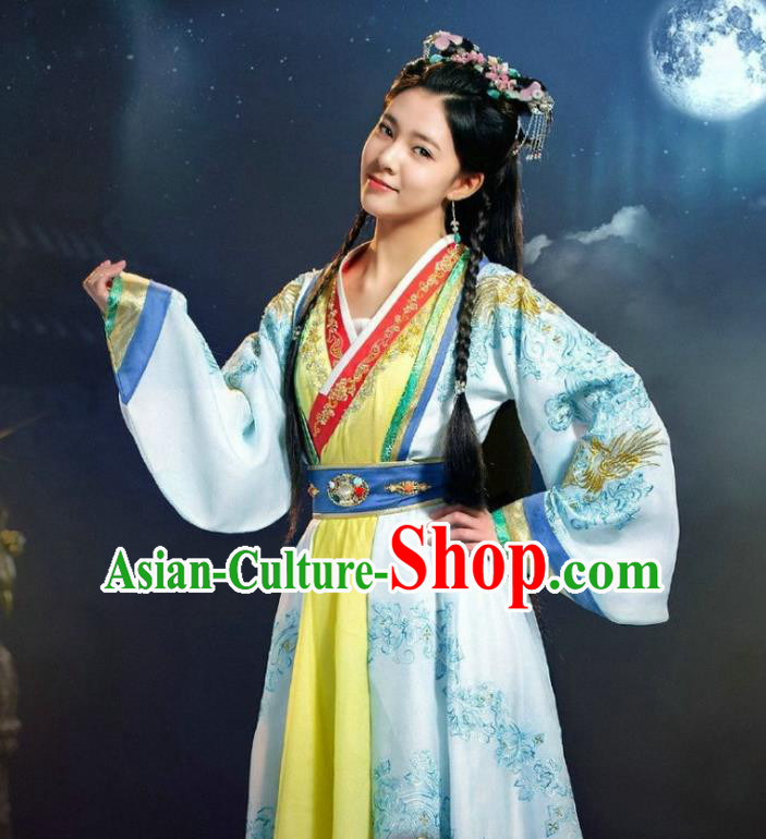 Chinese Ancient Infanta Costume Ming Dynasty Princess Embroidered Dress for Women