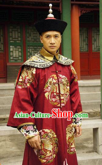 Chinese Ancient Qing Dynasty Manchu Royal Highness Embroidered Costume for Men