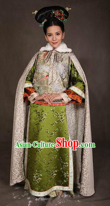 Chinese Ancient Qing Dynasty Manchu Dress Imperial Concubine Jing Embroidered Costume for Women