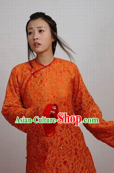 Chinese Ancient Manchu Palace Qing Dynasty Imperial Consort of Shunzhi Kong Sizhen Costume for Women