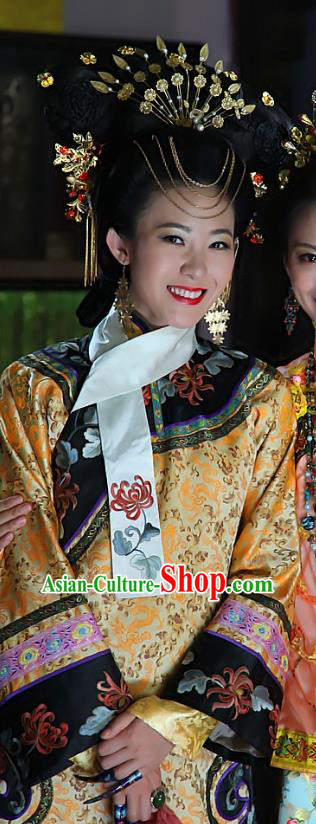 Chinese Ancient Manchu Dress Qing Dynasty Imperial Consort Jin of Xianfeng Costume for Women