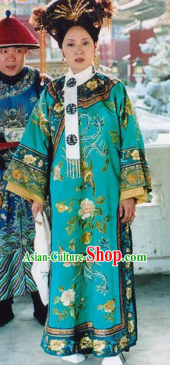 Chinese Ancient Imperial Consort Yi of Kangxi Dress Qing Dynasty Manchu Palace Lady Embroidered Costume for Women