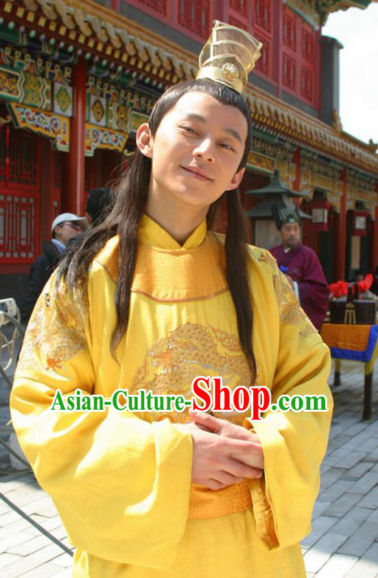 Traditional Chinese Ancient Ming Dynasty Emperor Zhengde Zhu Replica Costume Imperial Robe for Men
