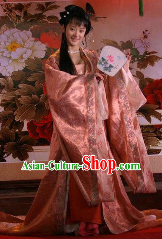Chinese Ancient Ming Dynasty Imperial Consort of Emperor Zhengde Embroidered Replica Costume for Women