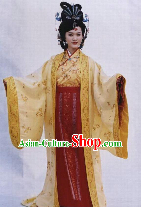Chinese Ancient Queen Costume Ming Dynasty Empress Zhang Embroidered Yellow Dress for Women
