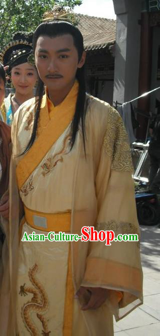 Traditional Chinese Ancient Ming Dynasty Emperor Xi Zhu Youxiao Embroidered Replica Costume Yellow Imperial Robe for Men