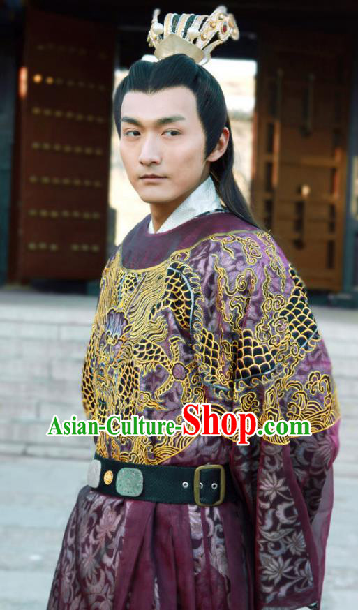 Traditional Chinese Ancient Ming Dynasty Emperor Xi Zhu Youxiao Embroidered Replica Costume Purple Imperial Robe for Men