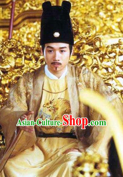 Chinese Ancient Ming Dynasty Founding Emperor Zhu Yuanzhang Embroidered Imperial Robe Replica Costume for Men