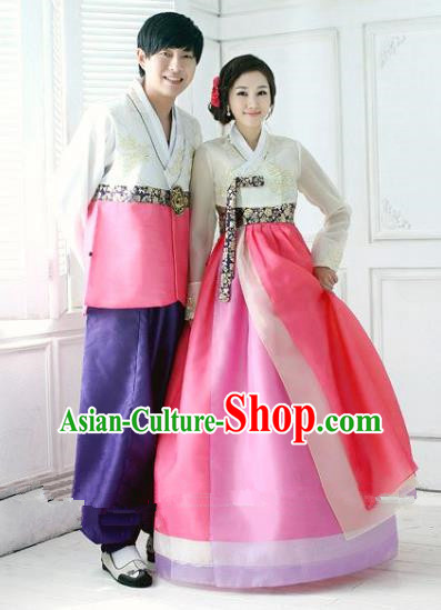 Asian Korean Traditional Palace Wedding Hanbok Clothing Ancient Korean Bride and Bridegroom Costumes Complete Set