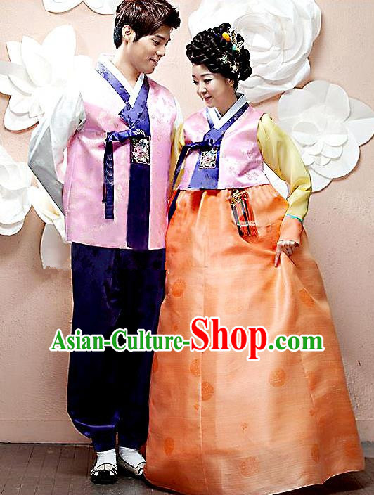 Asian Korean Palace Wedding Hanbok Clothing Ancient Traditional Bride and Bridegroom Costumes Complete Set
