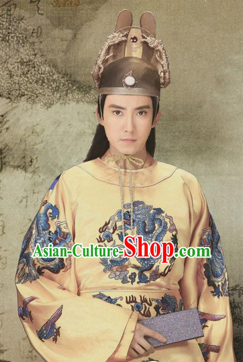 Chinese Ancient Ming Dynasty Jianwen Emperor Zhu Yunwen Replica Costume Embroidered Imperial Robe for Men