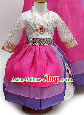 Top Grade Korean Palace Hanbok Traditional White Blouse and Rosy Dress Fashion Apparel Costumes for Kids