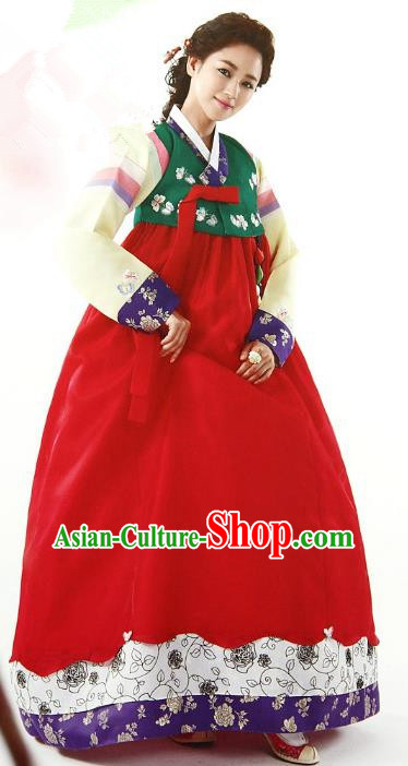 Top Grade Korean Palace Hanbok Traditional Green Blouse and Red Dress Fashion Apparel Costumes for Women