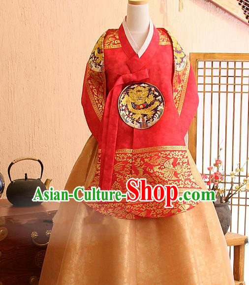 Top Grade Korean Palace Hanbok Traditional Red Blouse and Golden Dress Fashion Apparel Costumes for Women