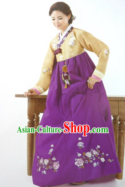 Top Grade Korean Palace Hanbok Traditional Yellow Blouse and Purple Dress Fashion Apparel Costumes for Women