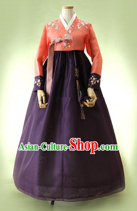 Top Grade Korean Hanbok Traditional Red Blouse and Purple Dress Fashion Apparel Costumes for Women