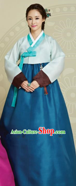 Top Grade Korean Hanbok Traditional Green Blouse and Blue Dress Fashion Apparel Costumes for Women