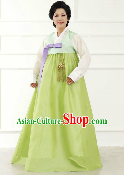 Top Grade Korean Hanbok Traditional Hostess Blouse and Green Dress Fashion Apparel Costumes for Women