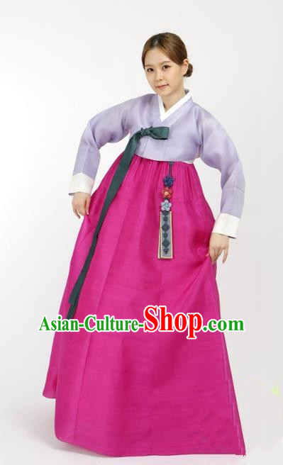 Top Grade Korean Hanbok Traditional Bride Lilac Blouse and Rosy Dress Fashion Apparel Costumes for Women