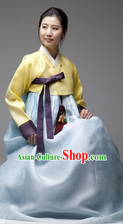 Top Grade Korean Hanbok Traditional Bride Yellow Blouse and Blue Dress Fashion Apparel Costumes for Women