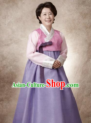 Top Grade Korean Hanbok Traditional Pink Blouse and Lilac Dress Fashion Apparel Costumes for Women
