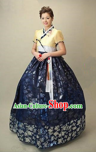 Top Grade Korean Traditional Hanbok Embroidered Yellow Blouse and Navy Dress Fashion Apparel Costumes for Women