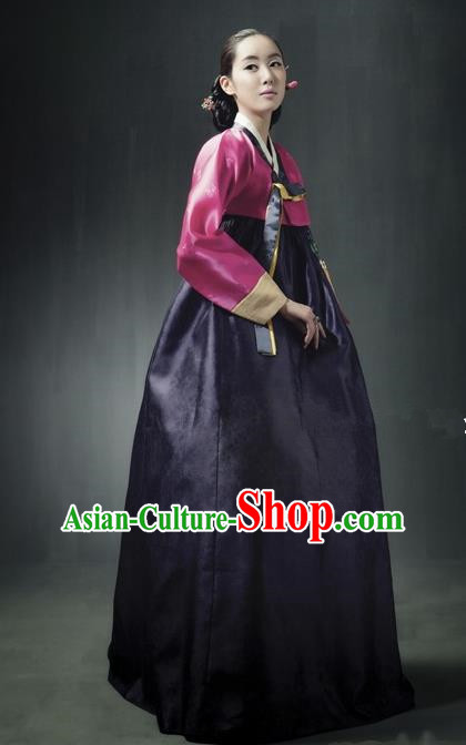 Top Grade Korean Traditional Hanbok Rosy Blouse and Purple Dress Fashion Apparel Costumes for Women