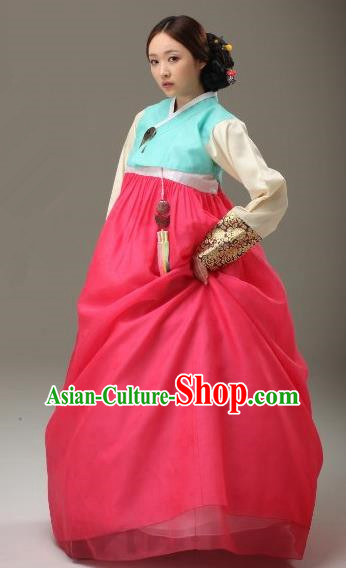 Top Grade Korean Traditional Hanbok Blue Blouse and Dress Fashion Apparel Costumes for Women