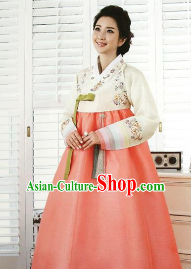 Top Grade Korean Traditional Hanbok Bride White Blouse and Orange Dress Fashion Apparel Costumes for Women