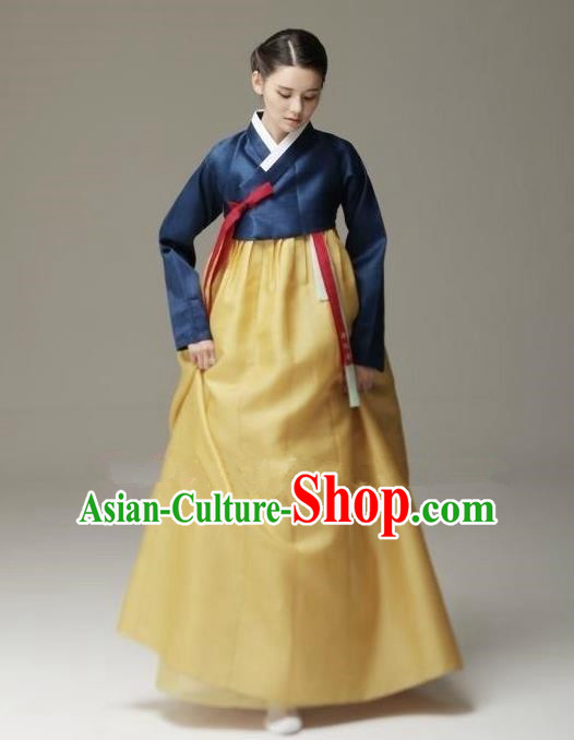 Top Grade Korean Hanbok Traditional Navy Blouse and Yellow Dress Fashion Apparel Costumes for Women