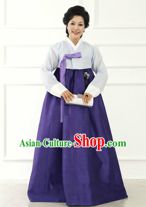 Top Grade Korean Hanbok Traditional Hostess Grey Blouse and Purple Dress Fashion Apparel Costumes for Women