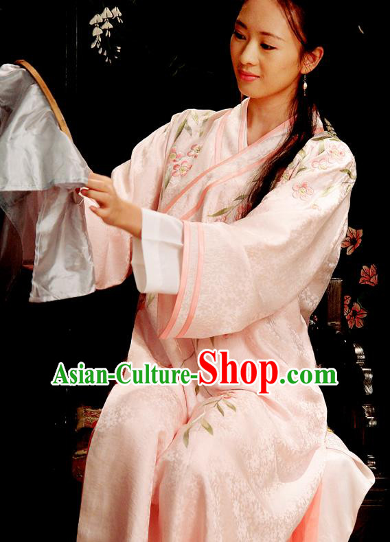 Chinese Ancient Novel Dream of the Red Chamber Second Sister You Embroidered Dress Replica Costume for Women