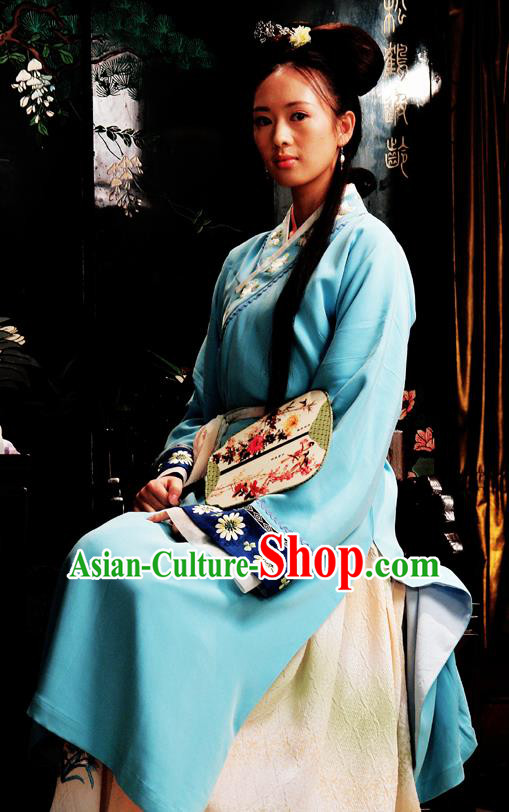 Chinese Classical Novel Dream of the Red Chamber Character Second Sister You Embroidered Dress Replica Costume for Women