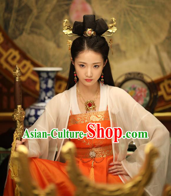 Chinese Ancient Ming Dynasty Imperial Princess Embroidered Dress Costume for Women