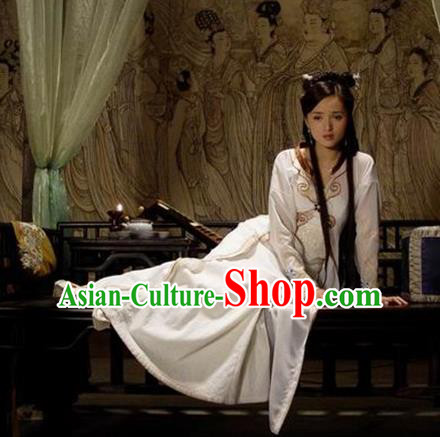 Chinese Ancient Ming Dynasty Courtesan Liu Rushi Embroidered Dress Costume for Women