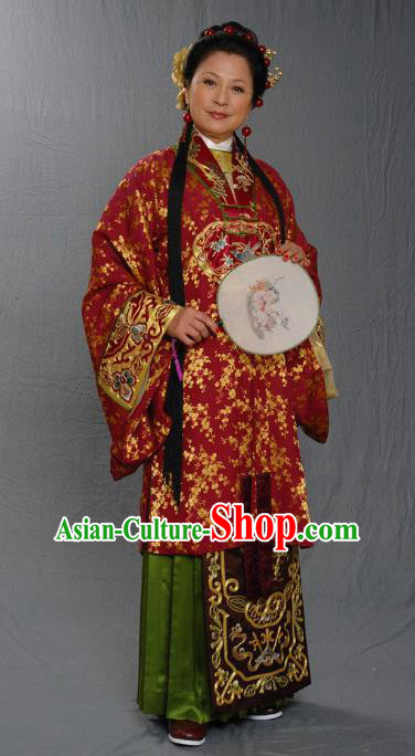 Chinese Ancient Ming Dynasty Woman Matchmaker Embroidered Dress Costume for Women