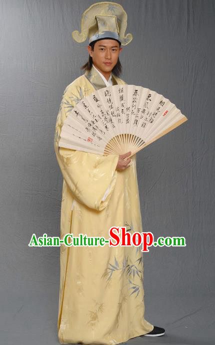 Traditional Chinese Ming Dynasty Ancient Artist Tang Bohu Costume for Men