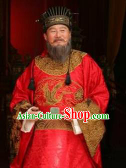 Traditional Chinese Ming Dynasty Ancient Cabinet Minister Gao Gong Costume for Men