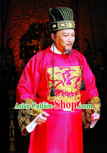 Traditional Chinese Ming Dynasty Ancient Cabinet Minister Zhang Juzheng Costume for Men