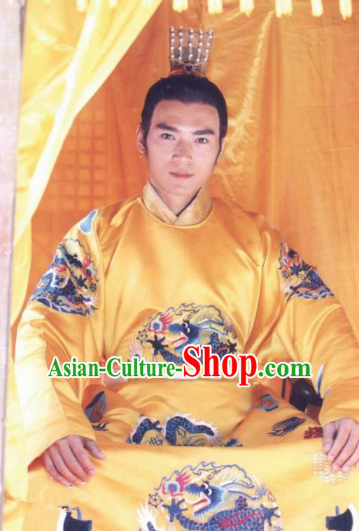 Traditional Chinese Ming Dynasty Ancient Zhengde Emperor Zhu Houzhao Costume for Men