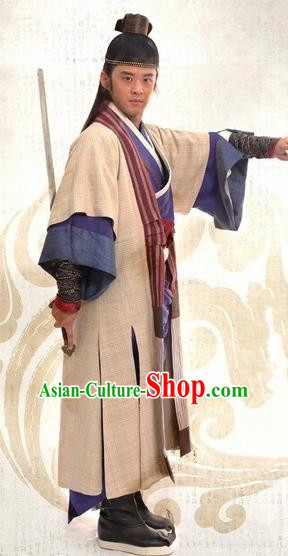 Traditional Chinese Ming Dynasty Ancient Gifted Scholar Litterateur Xu Zhenqing Costume for Men