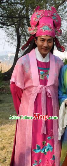 Traditional Chinese Ming Dynasty Ancient Gifted Scholar Painter Tang Bohu Costume for Men
