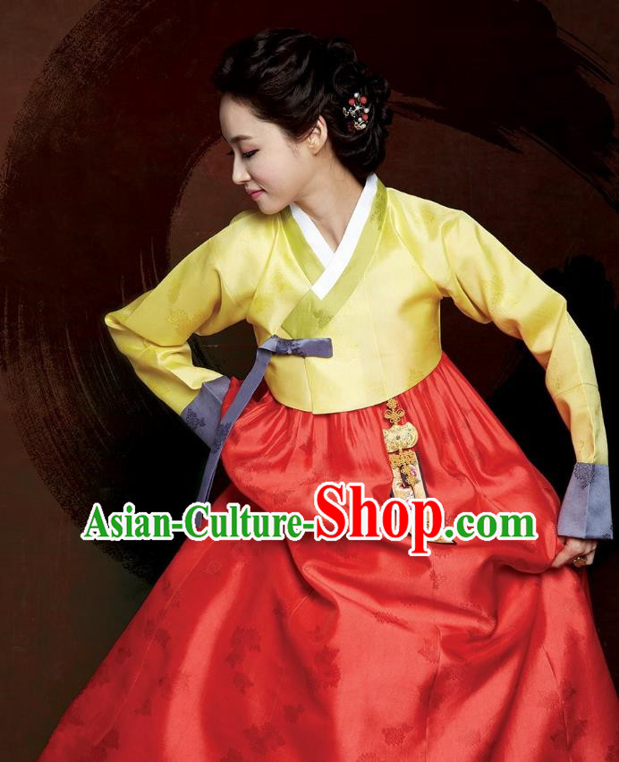 Top Grade Korean Hanbok Traditional Yellow Blouse and Red Dress Fashion Apparel Costumes for Women