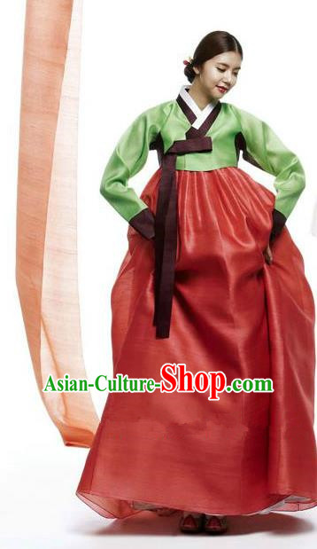 Top Grade Korean Hanbok Traditional Green Blouse and Red Dress Fashion Apparel Costumes for Women