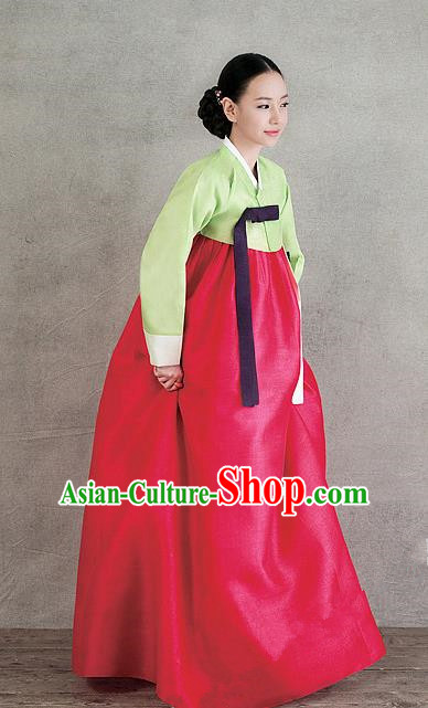Top Grade Korean Hanbok Traditional Green Blouse and Rosy Dress Fashion Apparel Costumes for Women
